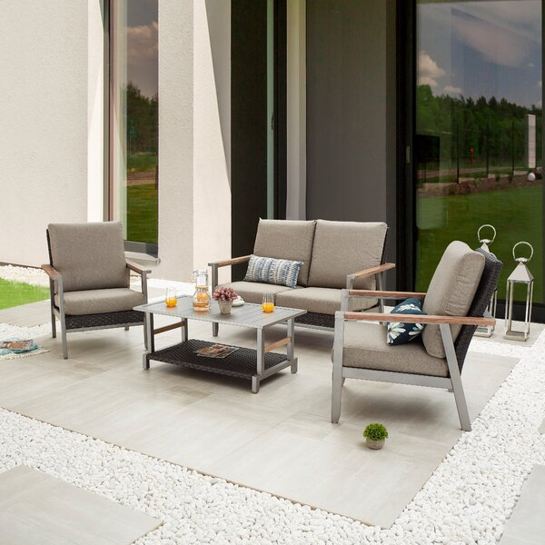 Serhan Outdoor 4 Piece Sofa Seating Group with Cushions by Latitude Run