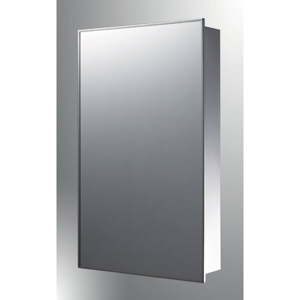 Crosby Stainless Steel Mirror 26 x 16 Surface Mount Framed Medicine Cabinet with 3 Adjustable Shelves by Symple Stuff