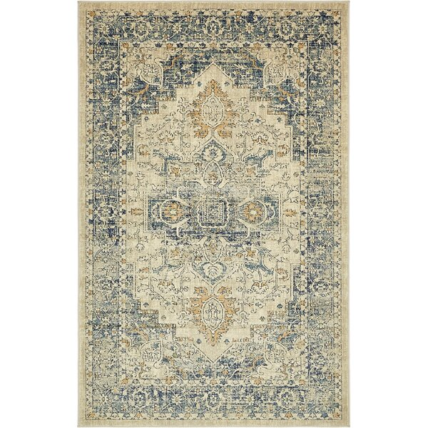 Jae Distressed Beige Area Rug by Bloomsbury Market