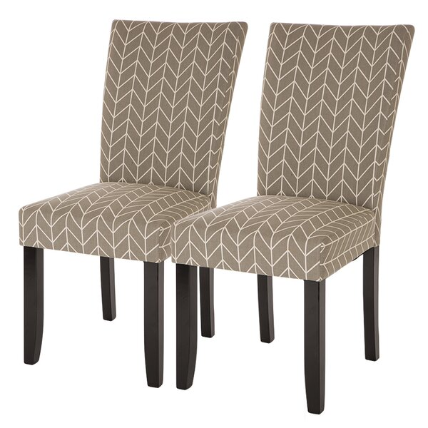 Albarado Herringbone Upholstered Dining Chair (Set of 2) by Ivy Bronx
