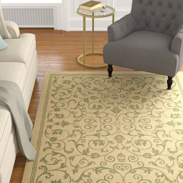 Bexton White Ivory / Green Indoor/Outdoor Area Rug by Alcott Hill