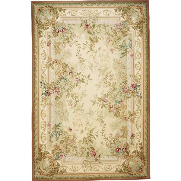 Classic Needlepoint AZM Hand Knotted Wool Beige/Brown Rug