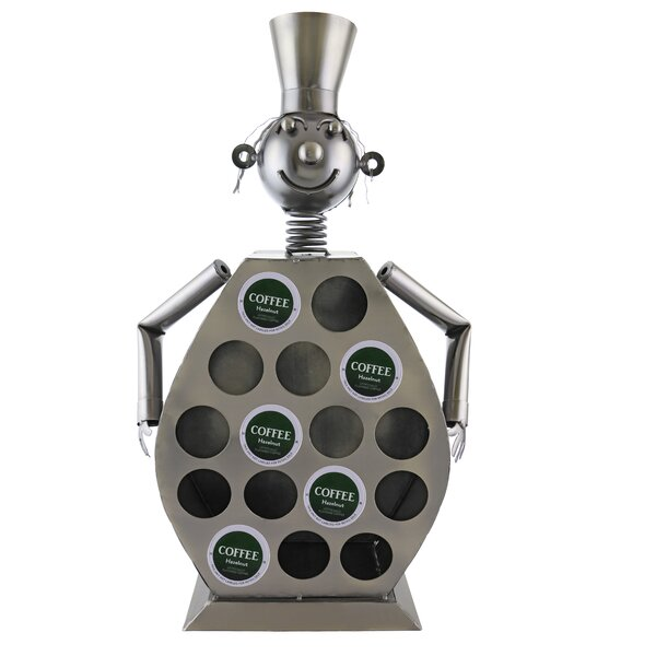 16-Pod Fine Metal Chef Coffee Capsule Holder Character Kitchen Display by Wine Bodies