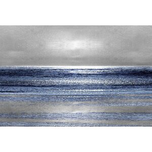 'Silver Seascape II' Graphic Art Print on Canvas by Wade Logan
