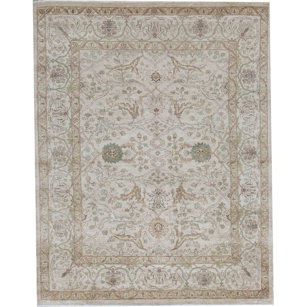 Sultanabad Oriental Hand-Knotted Wool Cream Area Rug
