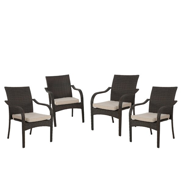Deanna Stacking Patio Dining Chair with Cushion (S