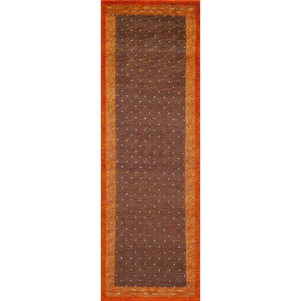 Havsa Desert Gabbeh Hand Knotted Brown Area Rug By Loon Peak.