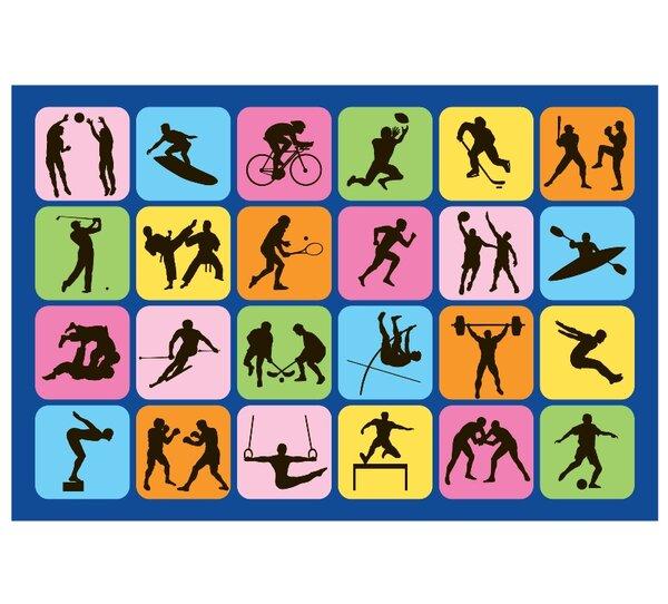 Fun Time Sports Symbol Kids Rug by Fun Rugs