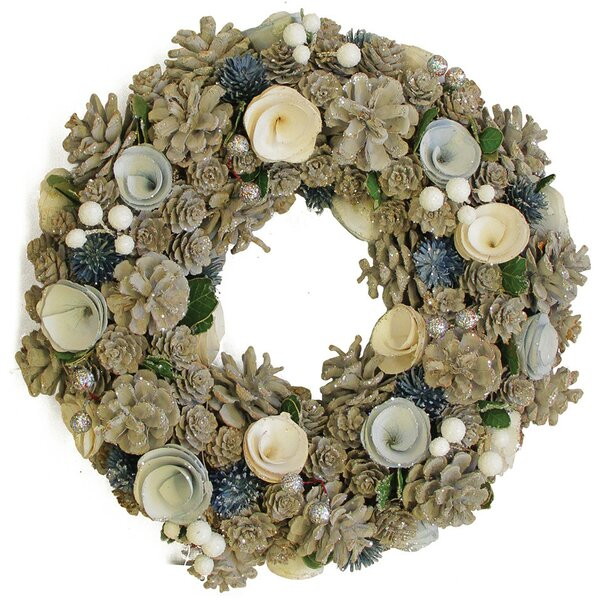 13 Pinecone with Flowers Christmas Wreath by Northlight Seasonal
