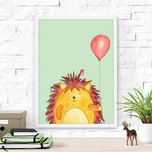 Hedgehog and His Red Balloon Framed Art by Dilemma Posters