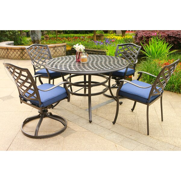 Dalessio Outdoor 5 Piece  Dining Set with Cushions by Darby Home Co