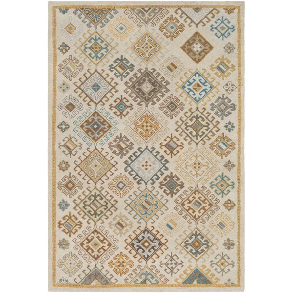 Pewitt Hand-Tufted Wool Teal/Khaki Area Rug by Bloomsbury Market