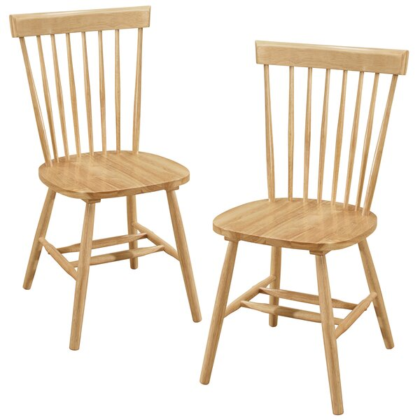 Alcide Solid Wood Dining Chair (Set of 2) by Charlton Home