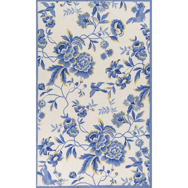 Chase Hand-Hooked Ivory/Blue Area Rug by Three Posts