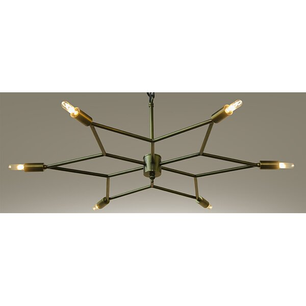 Star 6-Light Candle Style Geometric Chandelier By Noir