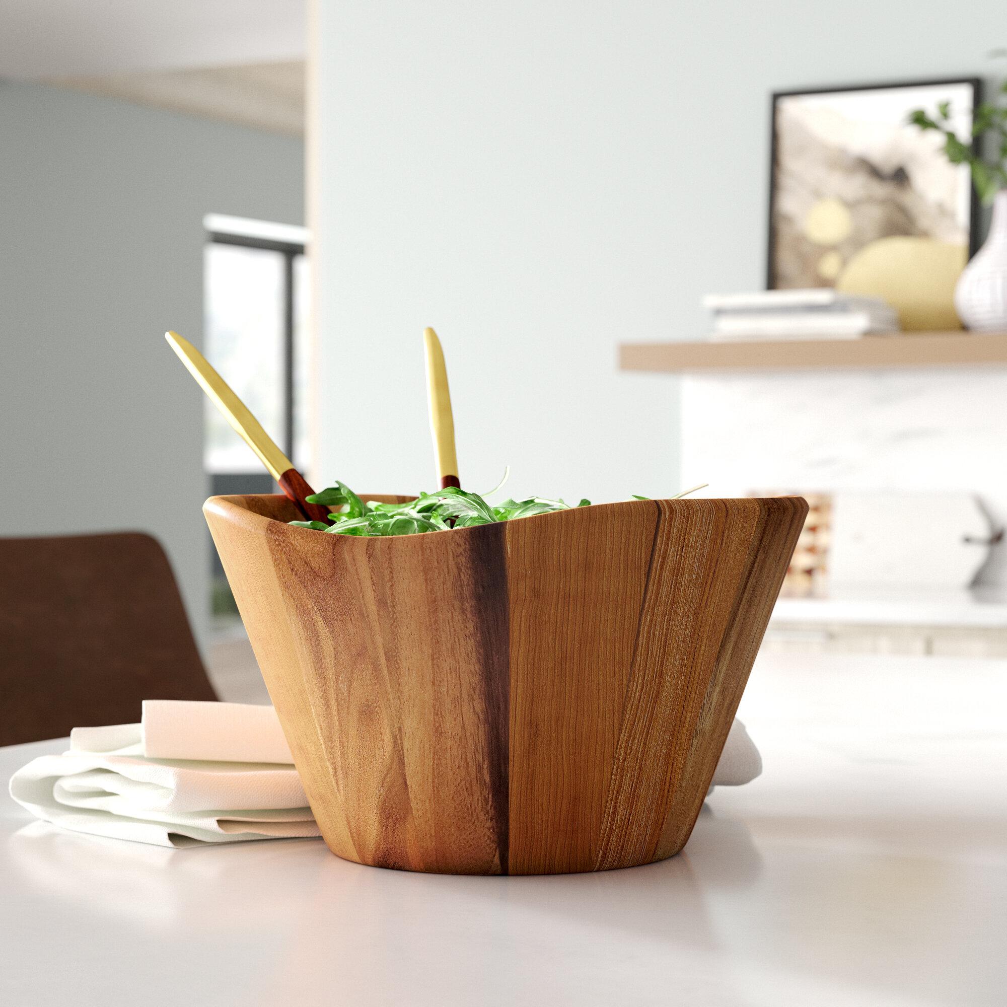 Set of 4 Lipper International Wooden Acacia Wave Shape Salad Serveware Bowl
