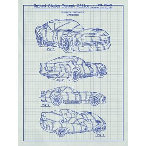 Automobiles Et Al 'Dodge Viper 1995' Silk Screen Print Graphic Art in White Grid/Blue Ink by Inked and Screened