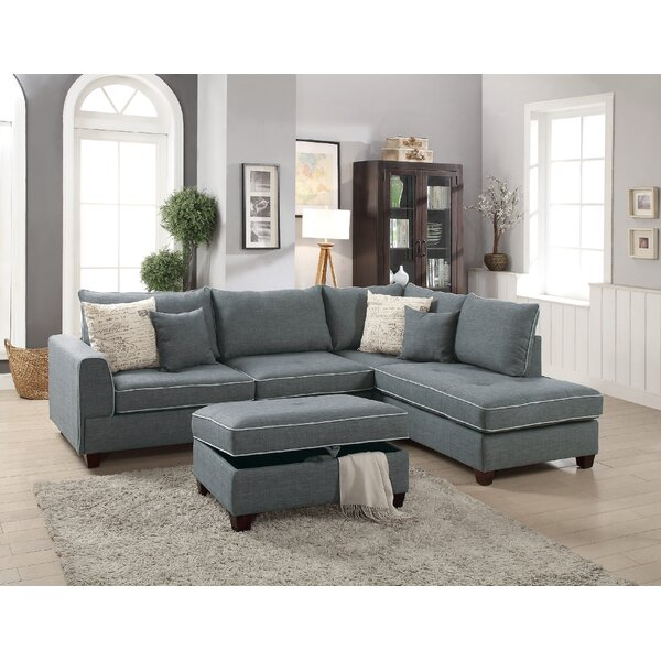 Heier Reversible Sectional with Ottoman by Highland Dunes