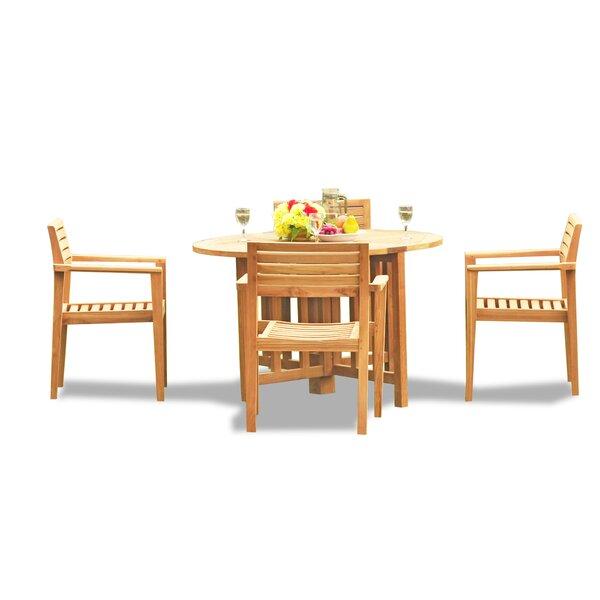 Lomita Luxurious 5 Piece Teak Dining Set