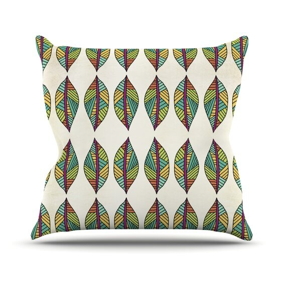 Tribal Leaves Outdoor Throw Pillow by East Urban Home