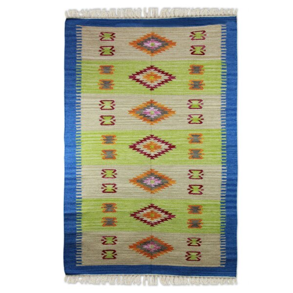 Hand-Woven Lime/Beige Area Rug by Novica