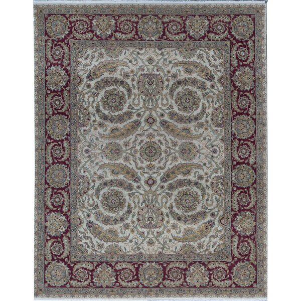 Oriental Hand-Knotted 8' x 10.2' Wool Ivory/Red Area Rug