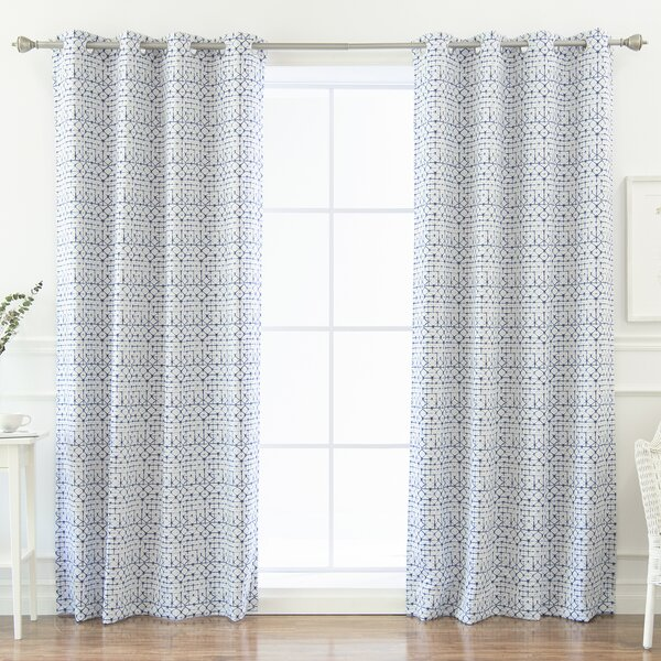 Beachcrest Home Aventura Shibori Geometric Blackout Thermal Grommet Curtain Panels Reviews