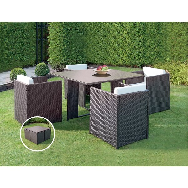 Patio Wicker Outdoor 5 Piece Dining Set by JB Patio