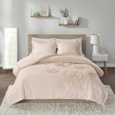 Alamo Solid Ruffle Floral Comforter Set