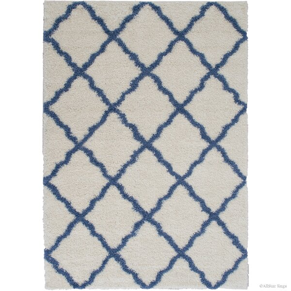Abbey Ivory Blue Area Rug by Harriet Bee