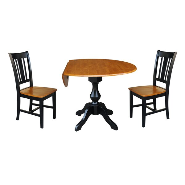 Augu Round Top Pedestal Extending 3 Piece Drop Leaf Solid Wood Dining Set by Alcott Hill