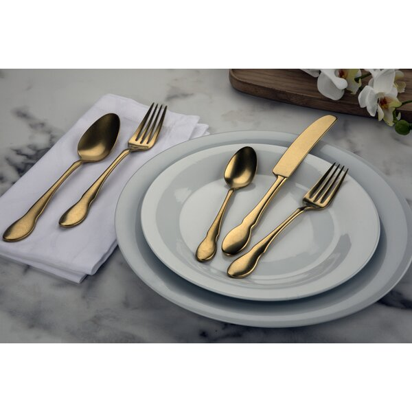 20 Piece 18/10 Stainless Steel Flatware Set by Gourmet Settings