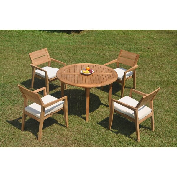 Dorantes 5 Piece Teak Dining Set by Rosecliff Heights
