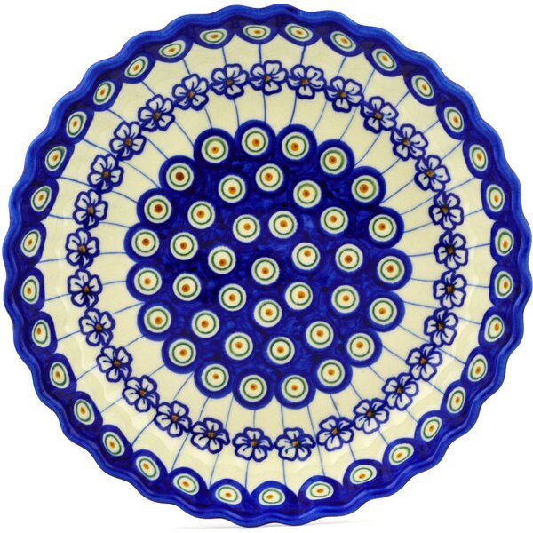 Flowering Peacock Fluted Pie Dish by Polmedia