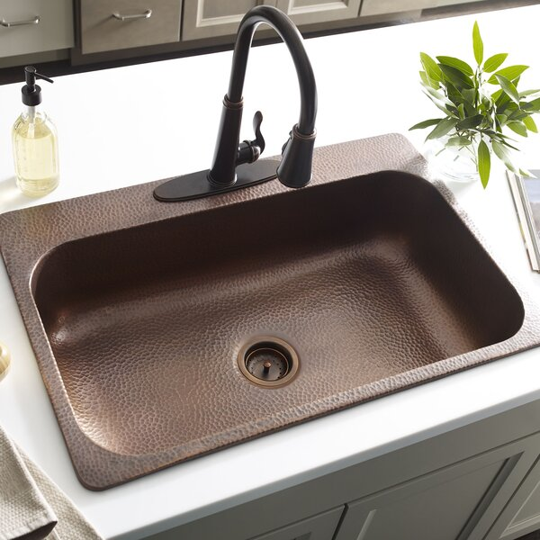 Angelico Handmade 3-Hole Single Bowl 22 L x 8 W Drop-In Kitchen Sink by Sinkology
