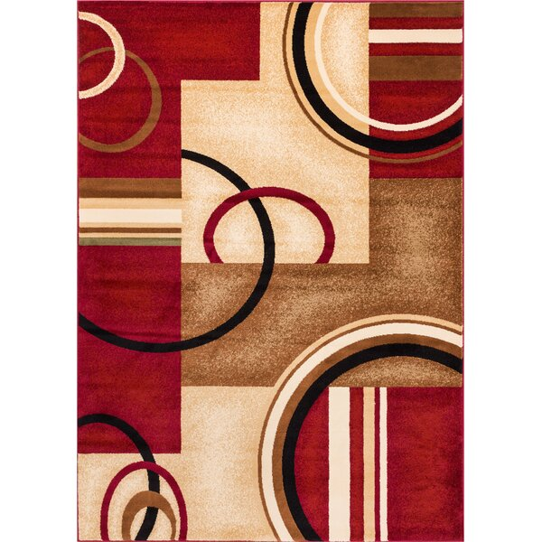 Daniel Red Arcs & Shapes Area Rug by Zipcode Desig