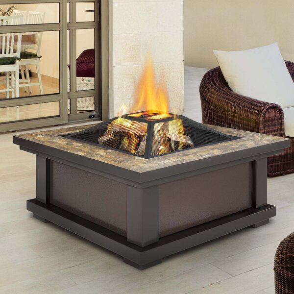 Alderwood Steel Wood Burning Fire Pit Table by Real Flame