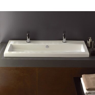 40 Ceramic Square Drop-In Bathroom Sink with Overflow