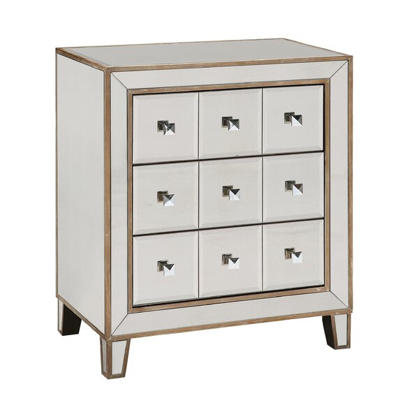 3 Drawer Mirrored Apothecary Accent Chest