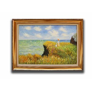 The Cliff Walk at Pourville' by Claude Monet Framed Painting by Greenville Signature
