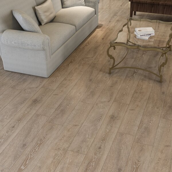 Augustus 7.71 x 72.83 x 12mm Oak Laminate Flooring in Simply Taupe by Serradon