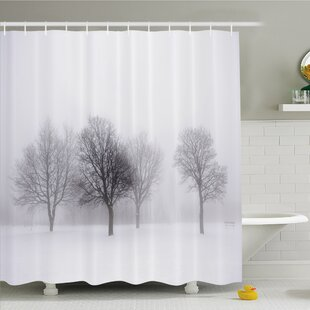 Reviews Winter Foggy Winter Scene with Leafless Tree Branch in Hazy Weather Artsy Print Shower Curtain Set ByAmbesonne