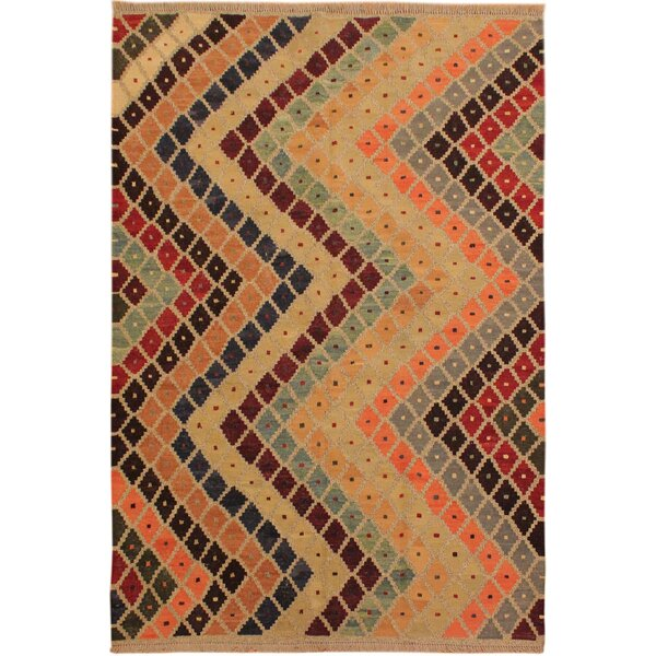 One-of-a-Kind Jorge Handmade Kilim Wool Beige/Red Area Rug by Isabelline