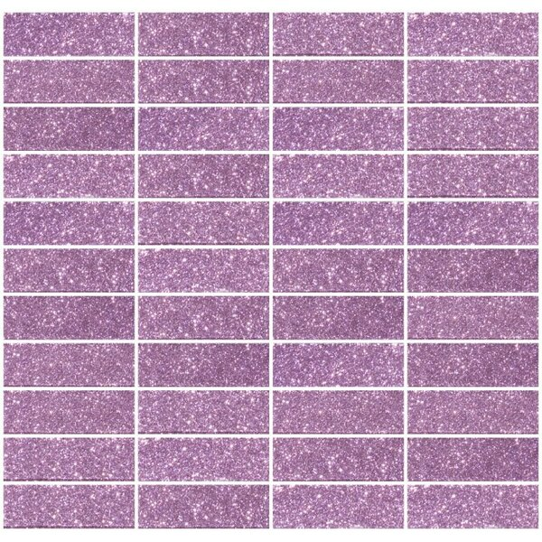 Stacked Glitter 1 x 3 Glass Subway Tile in Glossy Pink by Susan Jablon