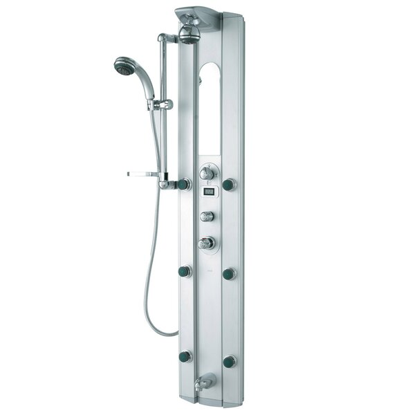 Palmyra Shower Massage Panel with Hose, Hand Shower, Slide Bar, Six Body Sprays, and Shower Head by VIGO