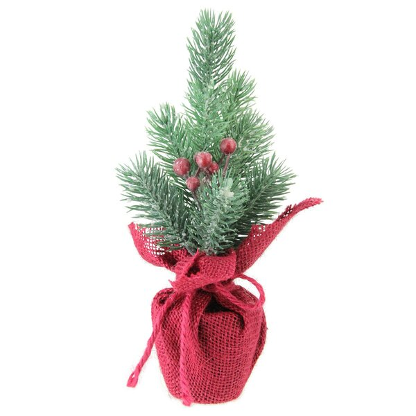 9.5 Frosted Mini Pine Christmas Tree with Berries in Burlap Covered Vase by The Holiday Aisle