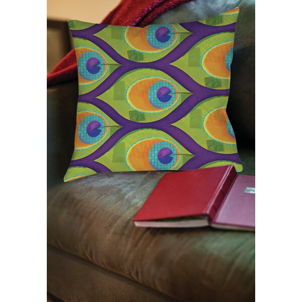 Peacock Pattern 10 Printed Throw Pillow by Manual Woodworkers & Weavers