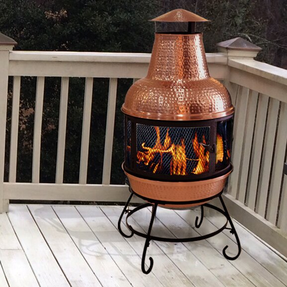 Cape Copper Wood Burning Chiminea by Deeco