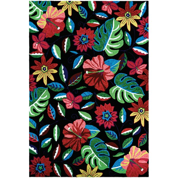 Willamette Hand-Woven Black/Green/Red Indoor/Outdoor Area Rug by Bay Isle Home