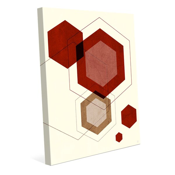 Polygon Splat Red Graphic Art on Wrapped Canvas by Click Wall Art